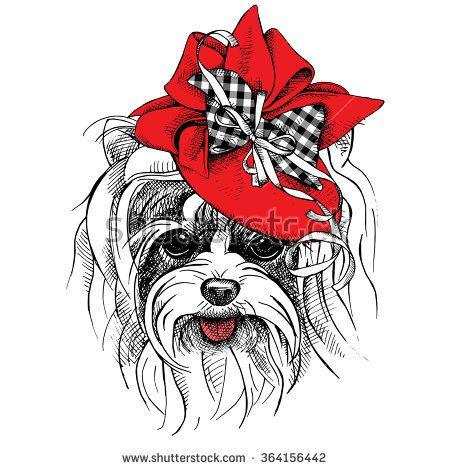 Dog Yorkie portrait in a red Elegant women s hat with bow and ribbon.  Vector illustration - achetez cette image vectorielle sur Shutterstock et  trouvez ... 5b10abfcc5