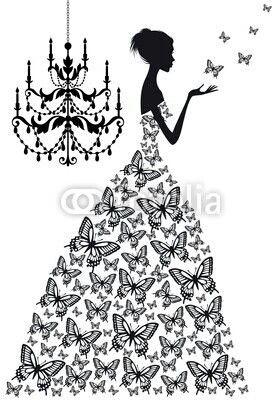 Silueta de mujer con vestido dibujo