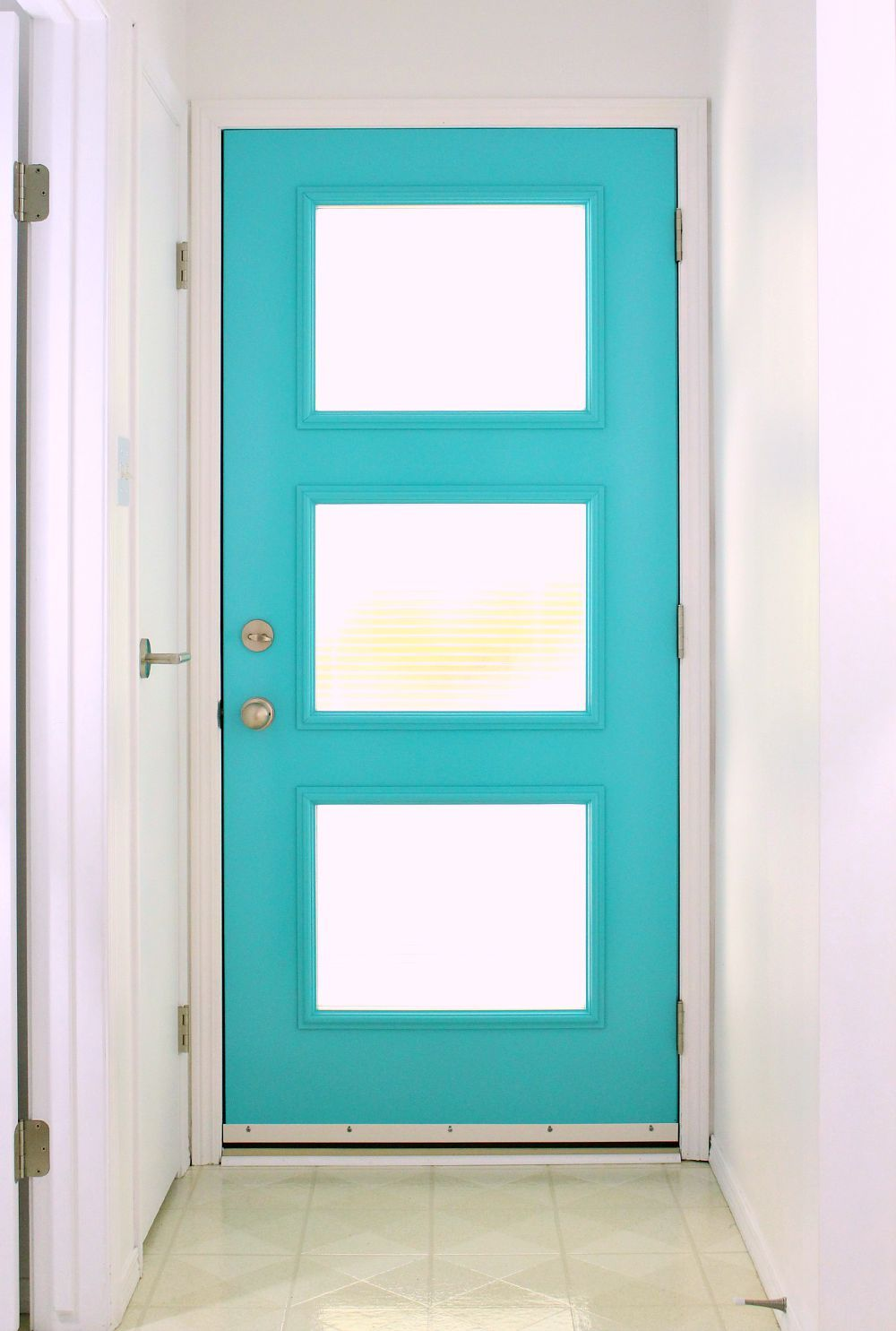 A mid century modern inspired front door with special for Exterior front door lights