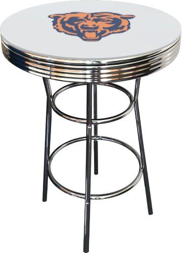 Chicago Bears Logo Theme Glass White Top Chrome Finish Metal