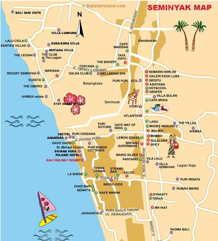 Seminyak Map North Kuta Bali Map In 2020 Bali Legian