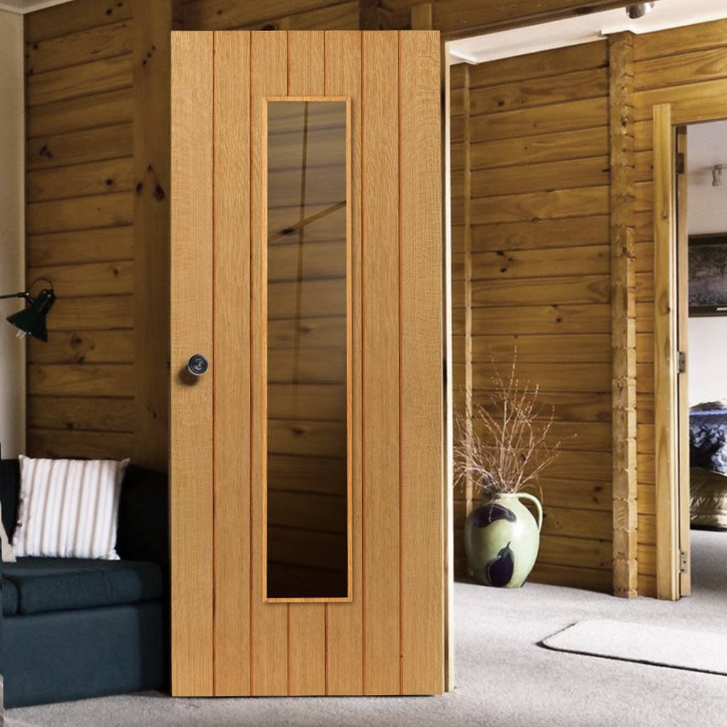 Oak Internal Doors River Cottage Cherwell Glazed Door Clear Safety Glass Prefinished Recessed Grooved Panel Effect Very Popular