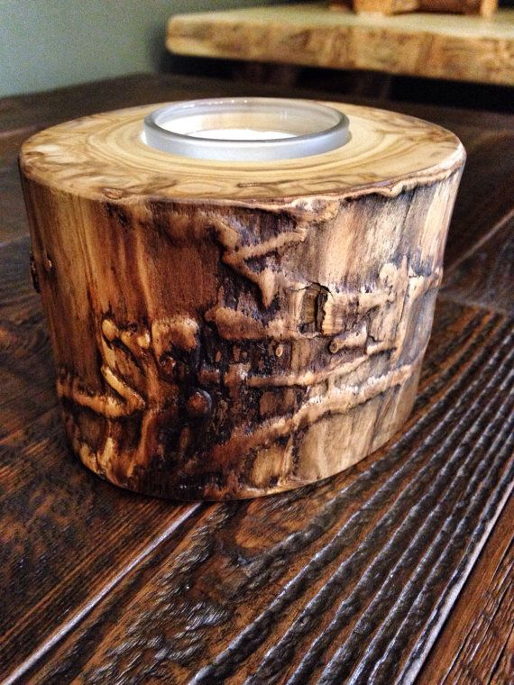 Aspen Log Candle Holders Wooden Candle Holder by TheRusticPalette