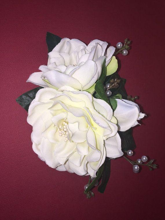 White Gardenia Nani Tropical Flower Hair Clip Silk White Gardenia Hair Pearls Hawaii Wedding Beach Brides Hula Flowers In Hair Tropical Flowers White Gardenia