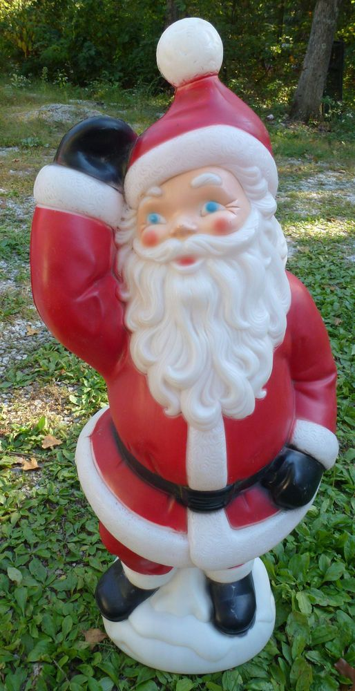 vtg 40 waving santa claus plastic lighted yard lawn blowmold ornament empire 41 christmas yard - Lighted Plastic Christmas Yard Decorations