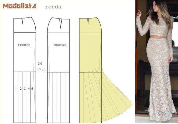 Ideas para el hogar  8 Modelos de faldas largas costura fácil con moldes  gratis 9287f02313a2