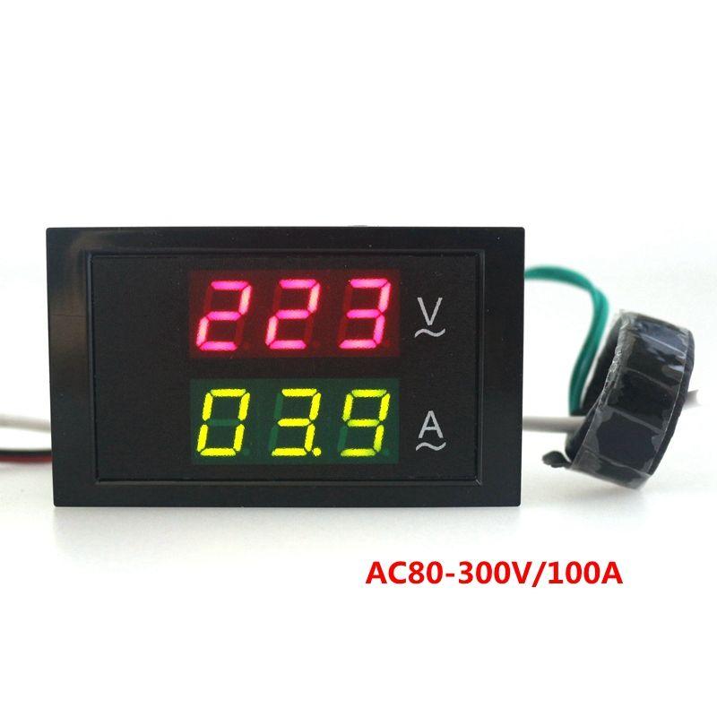 AC80-300V AC 0-100A Led Digital AC Voltmeter Ammeter Current Meter ...