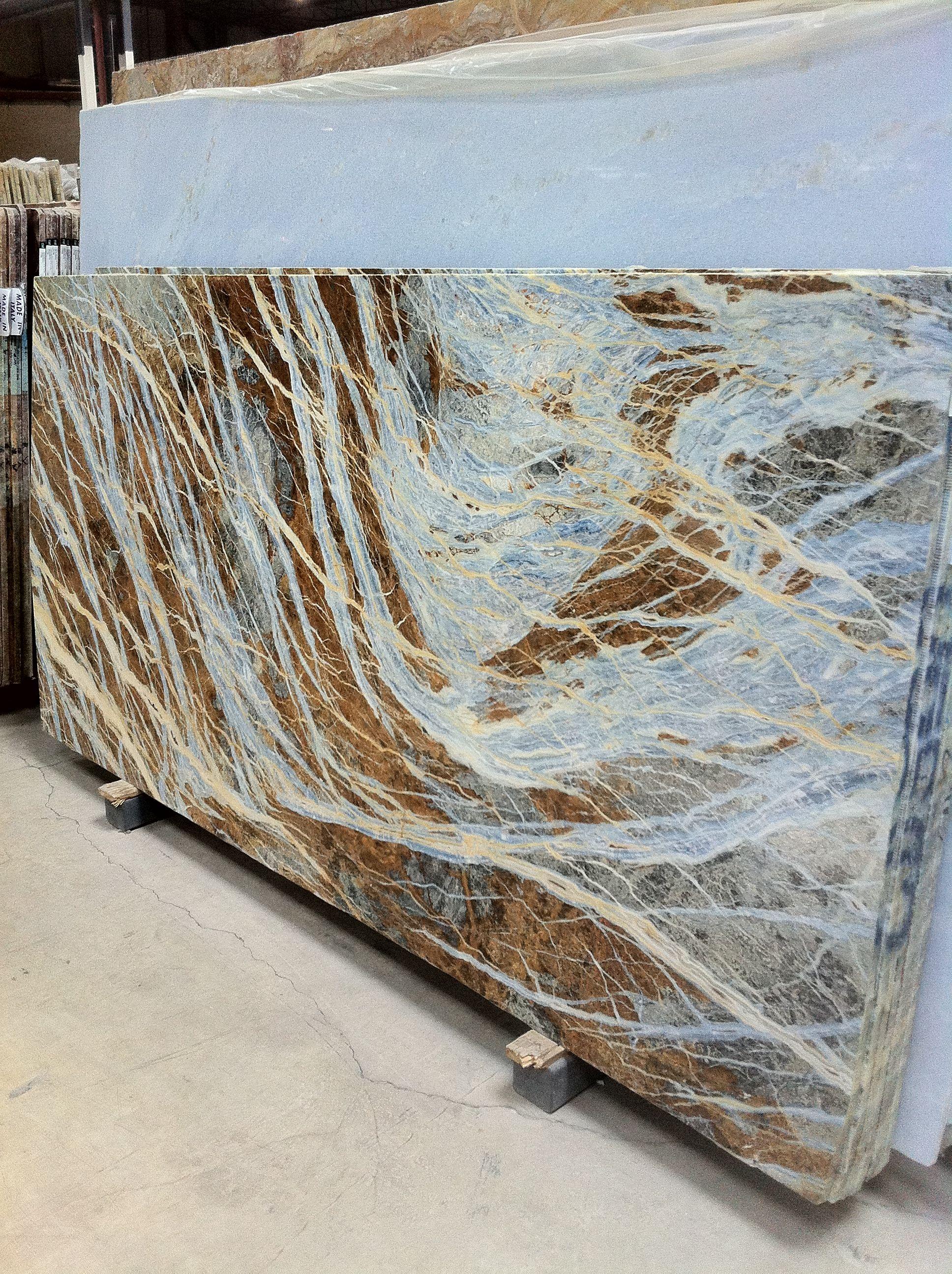 Blue Marble Slab : Blue jeans marble slab block quarry interior design