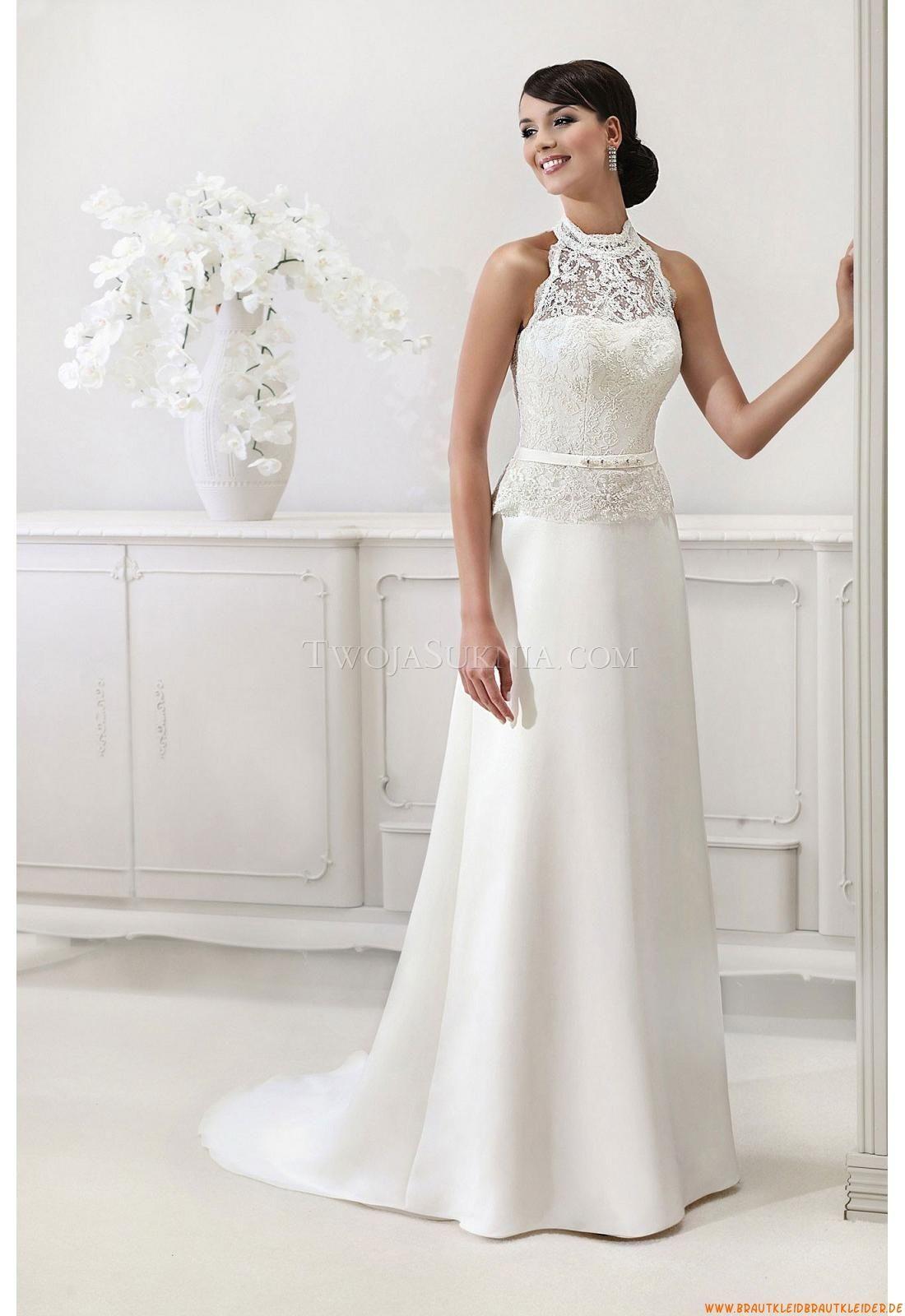 Elegantes Schlichtes Brautkleid 12 aus Taft mit Spitze