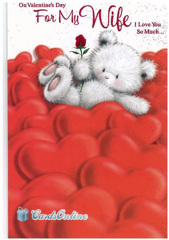 399 To My Wife on Valentines Day Front of Card features Cute