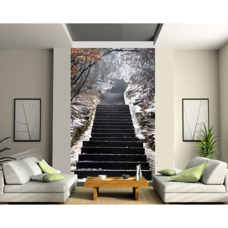sticker mural g ant trompe l 39 oeil escalier tapeten. Black Bedroom Furniture Sets. Home Design Ideas
