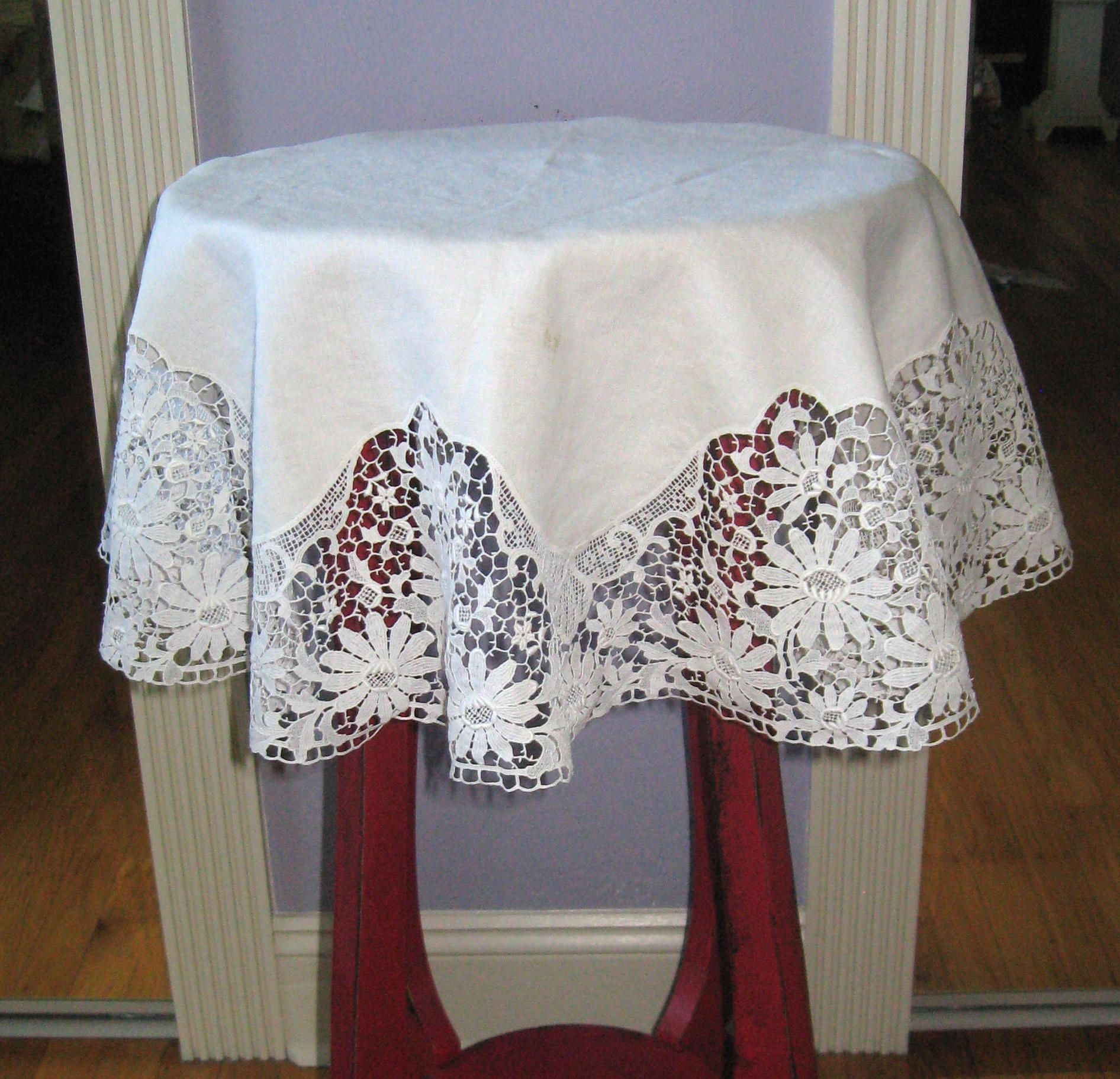 Small Round Tablecloth Linen Lace Tablecloth Victorian Linen