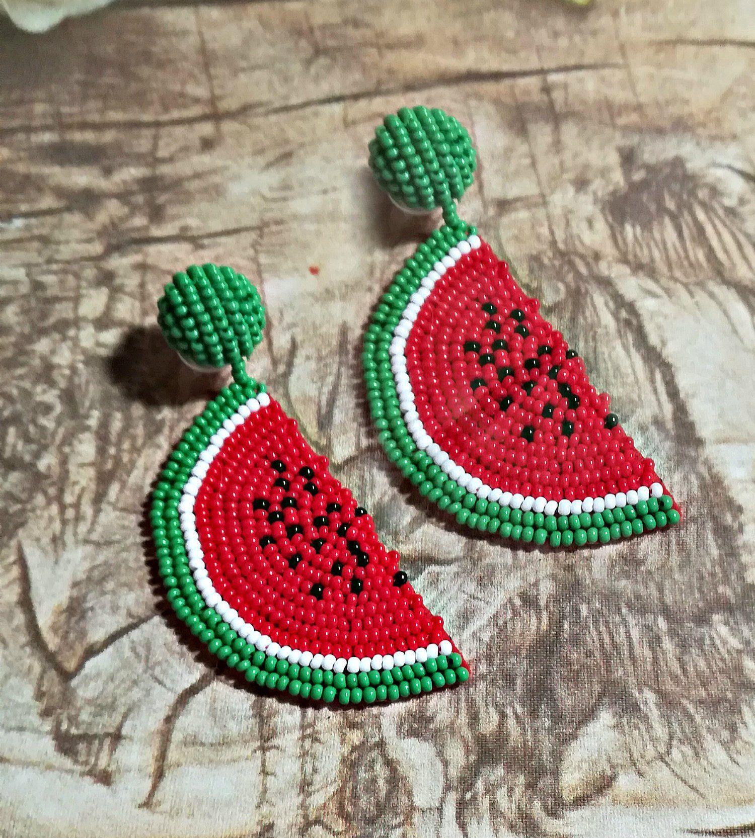 Watermelon Drop Earrings Dangle Earrings Seed Beads Beaded Earrings Jewelry Gift for Her Foodie Fruit Handmade Wearable Art