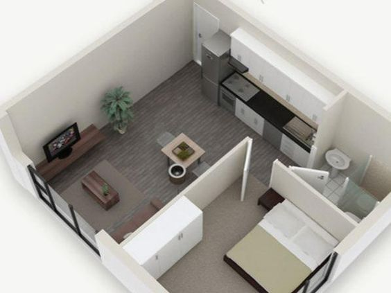 Possible room layout for small 1-bed apartment with kitchette: http://www.property24.com/new-developments/claremont/cape-town/western-cape/the-beaumont/11741/21