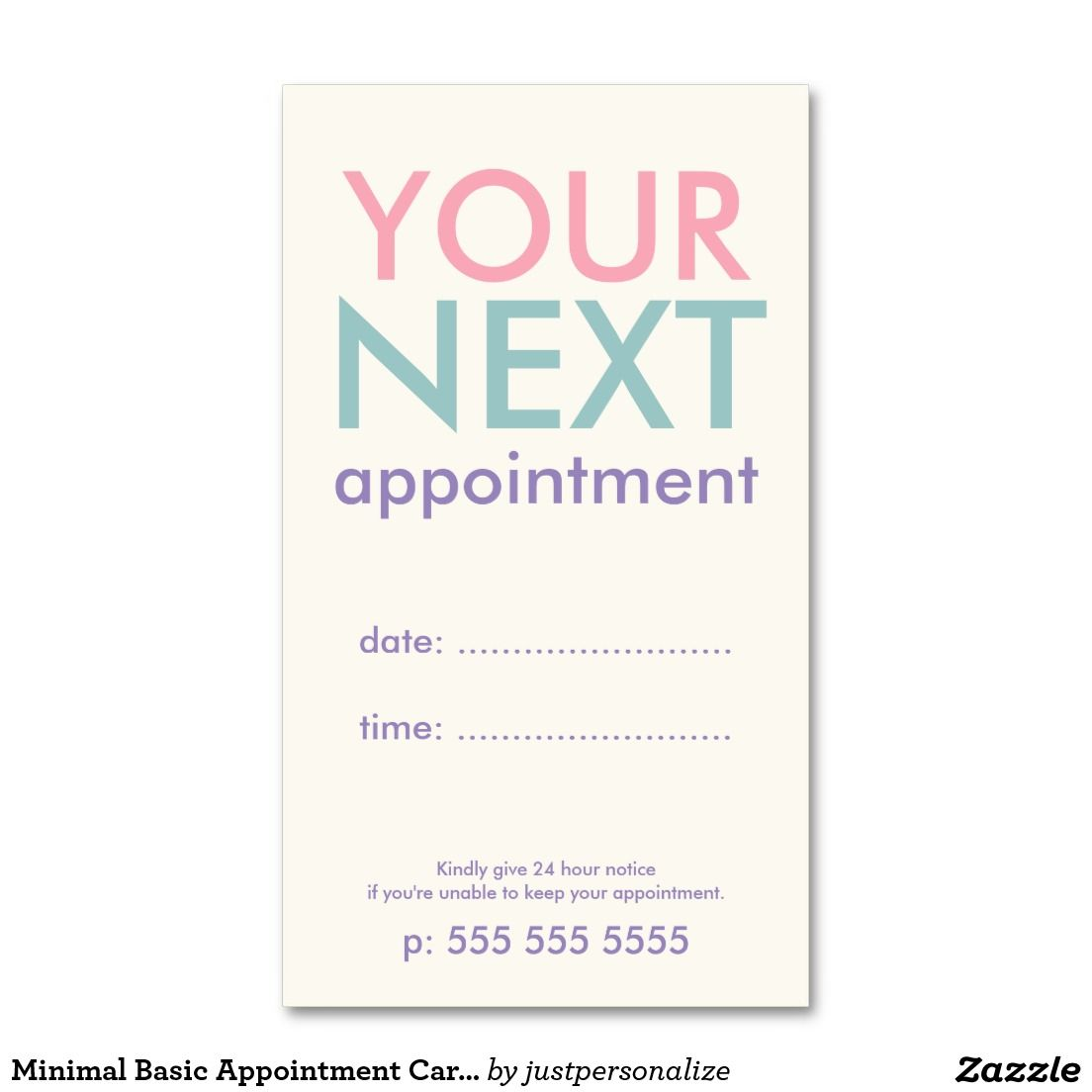 Minimal Basic Appointment Card in Pink Purple Double-Sided Standard ...
