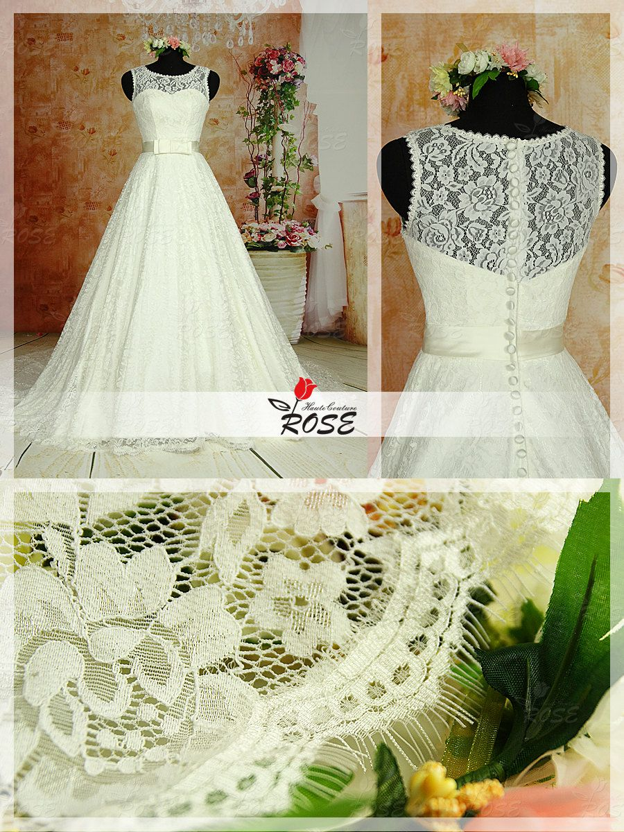 A line transparent lace back wedding dress by rosehautecouture