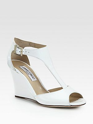 Jimmy Choo Patent Leather T-Strap Wedges cheap for cheap cheap wholesale price yHKvdSfS
