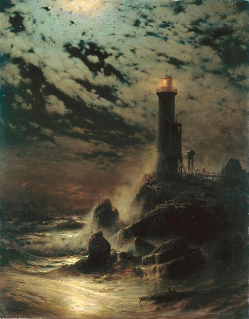 Hermann Eschke, Lighthouse on a Cliff by Moonlight, 1879