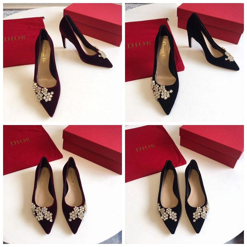 0c2575b4ca7 Dior High-Heeled Shoe in Burgundy  Black Velvet and Rhinestones 9CM 2018  Size