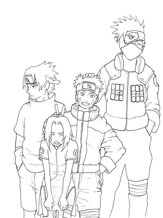 Kakashi Naruto Sakura Sasuke Coloring Pages