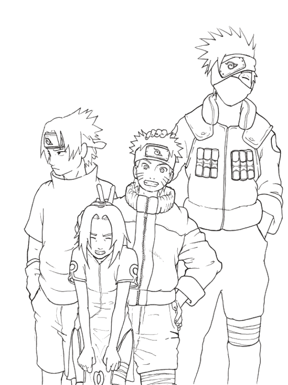 Kakashi Naruto Sakura Sasuke Coloring Pages Naruto Sketch Drawing Naruto Drawings Naruto Sketch