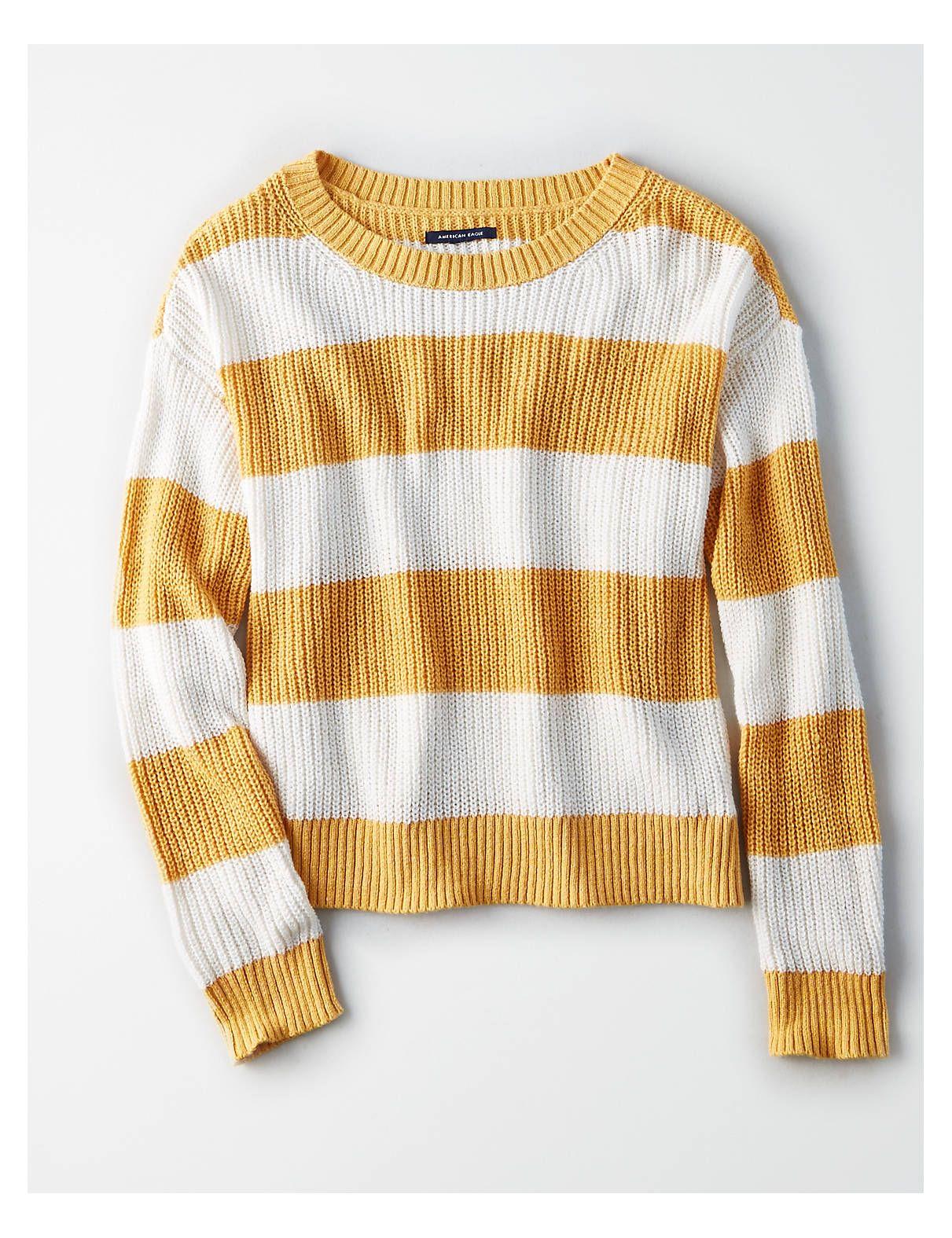 9b4f54225c AE Rugby Stripe Sweater, Mustard | American Eagle Outfitters American Eagle  Tops, American Eagle