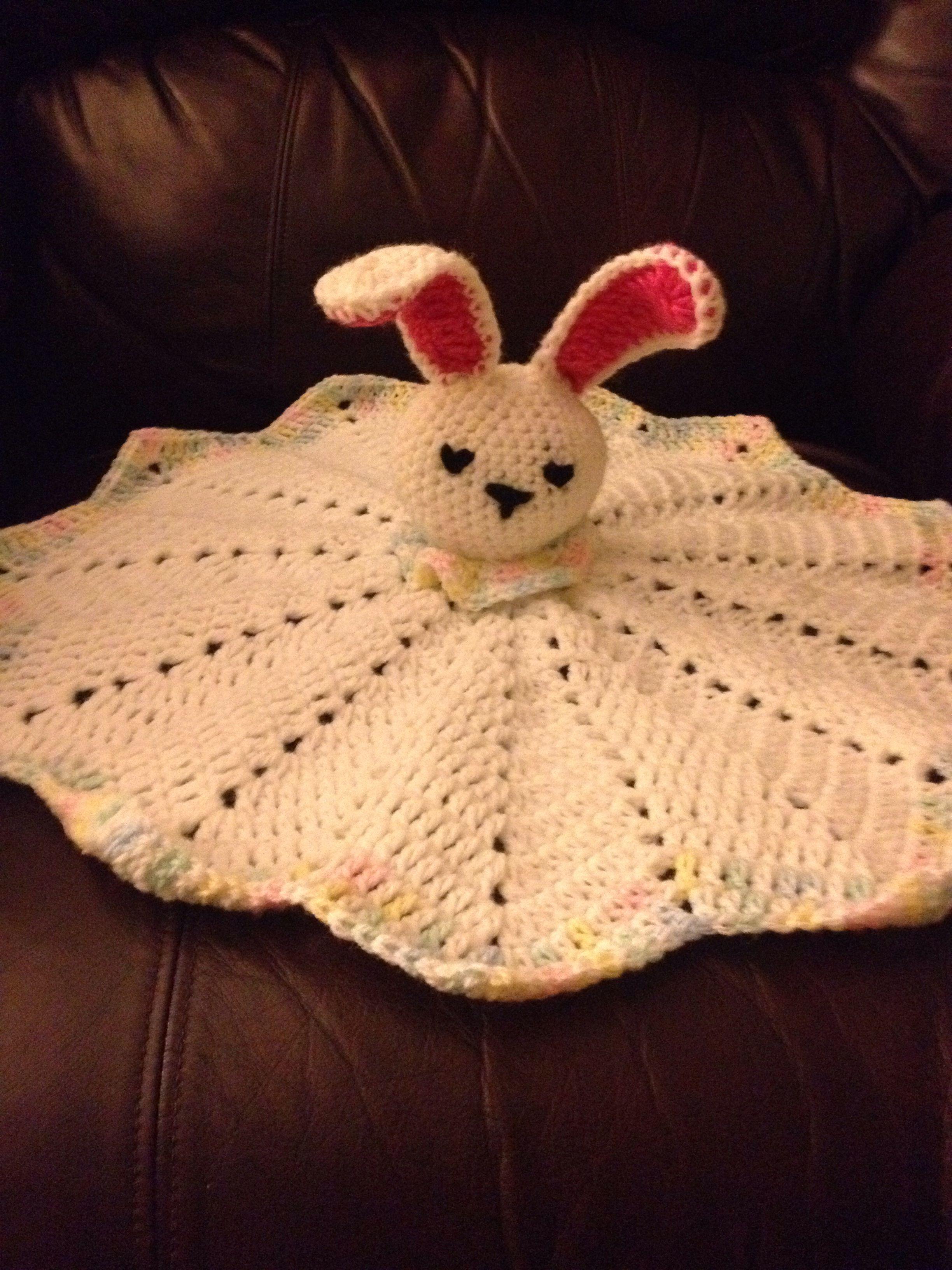 crochet bunny lovey - Red Heart Bunny Comfort Blankie head pattern ...