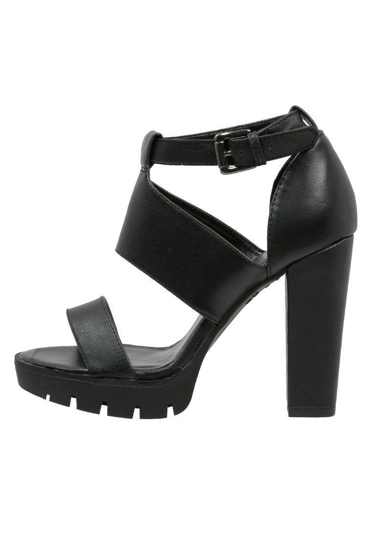 New Look Spoke Sandaly Na Platformie Black Zalando Pl Heeled Mules Heels Mule Shoe
