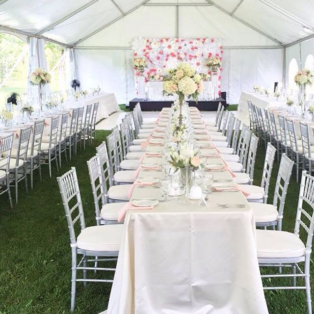 Backyard wedding under tent with floral background blush & Backyard wedding under tent with floral background blush | Wedding ...