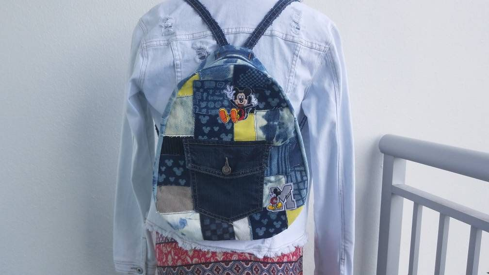 86b85758ad54 Denim and corduroy Mickey Mouse inspired small backpack - Mickey ...