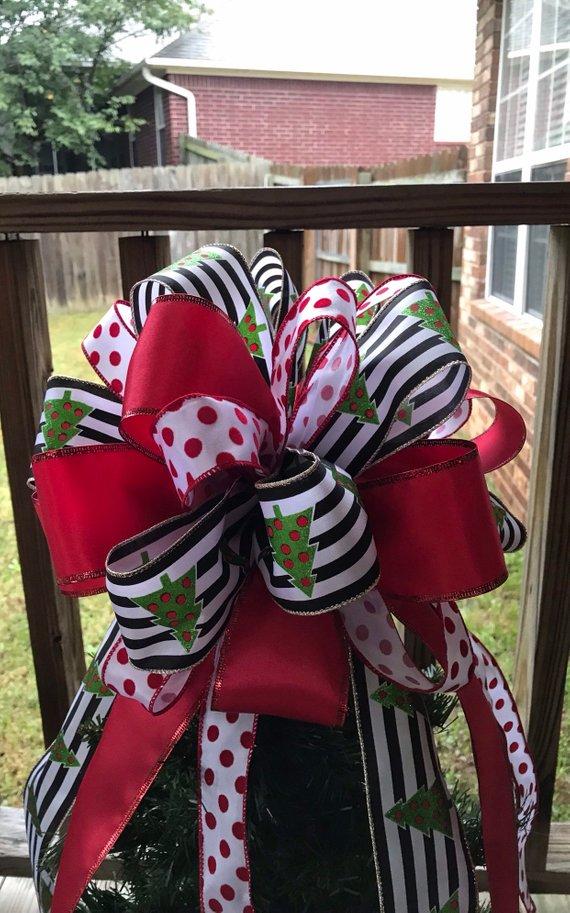 Large Christmas Tree Bow Topper - Black/White Stripe w/ Lime Trees, Red, & Red White Stripe ...