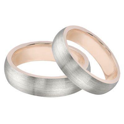 Lesofgold 14k White Gold Rose Wedding Band Set Jewelry 1 325 00