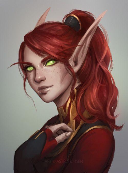 Aelenne Emberwing Illyriel Warcraft Art Fantasy Character Design Elf Art