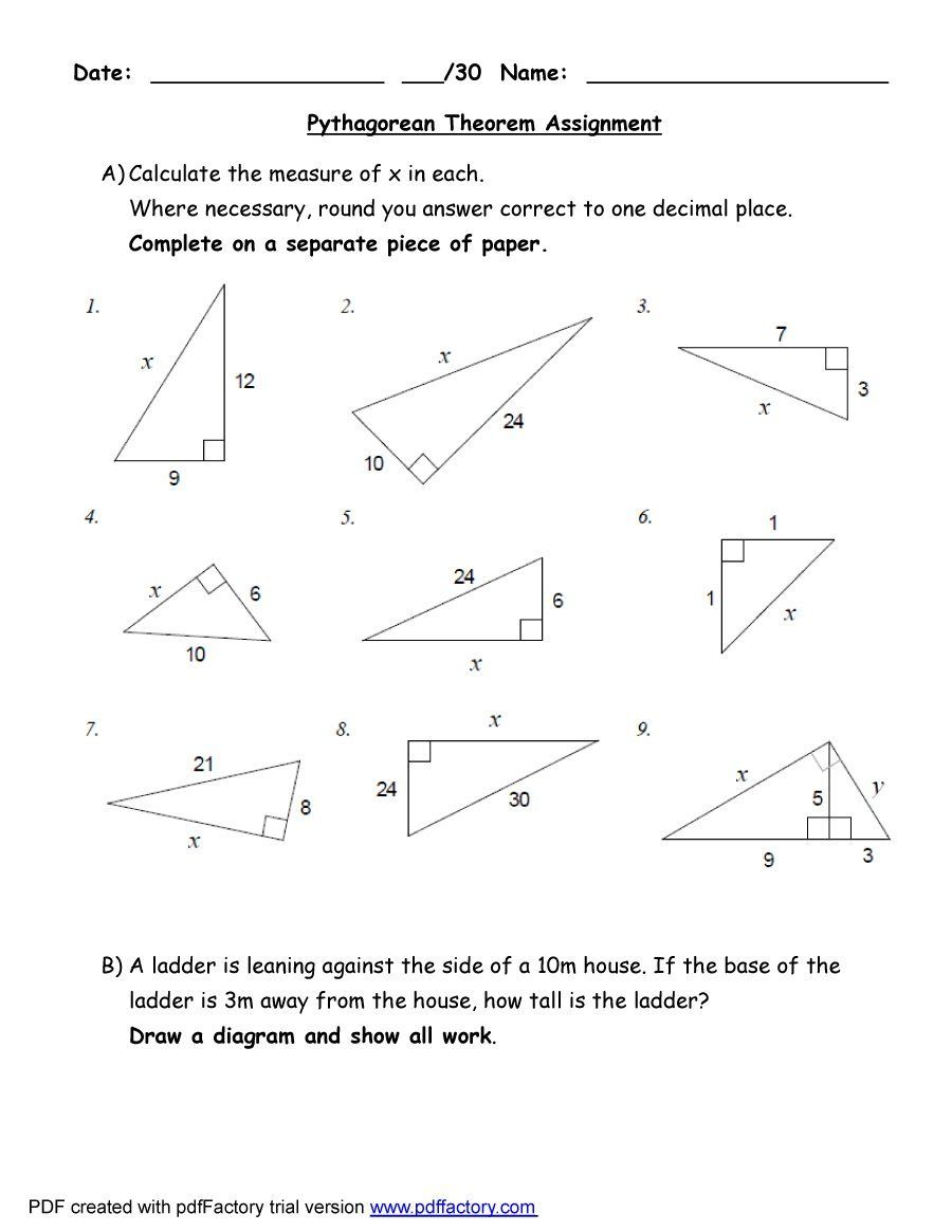 pythagorean theorem worksheet answers | 48 Pythagorean ...