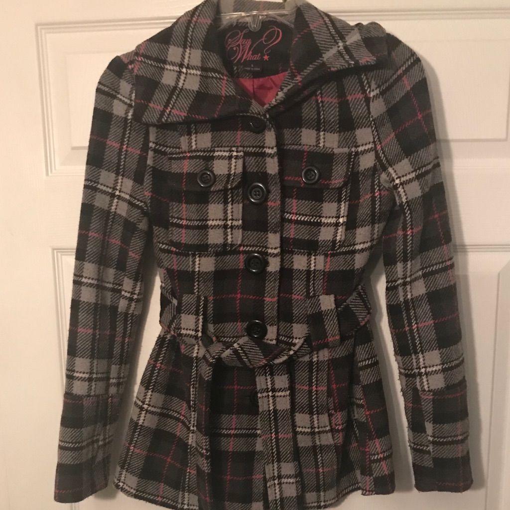 Womens Size Small Plaid Winter Coat
