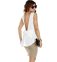 Ivory With a Bow Peplum Top