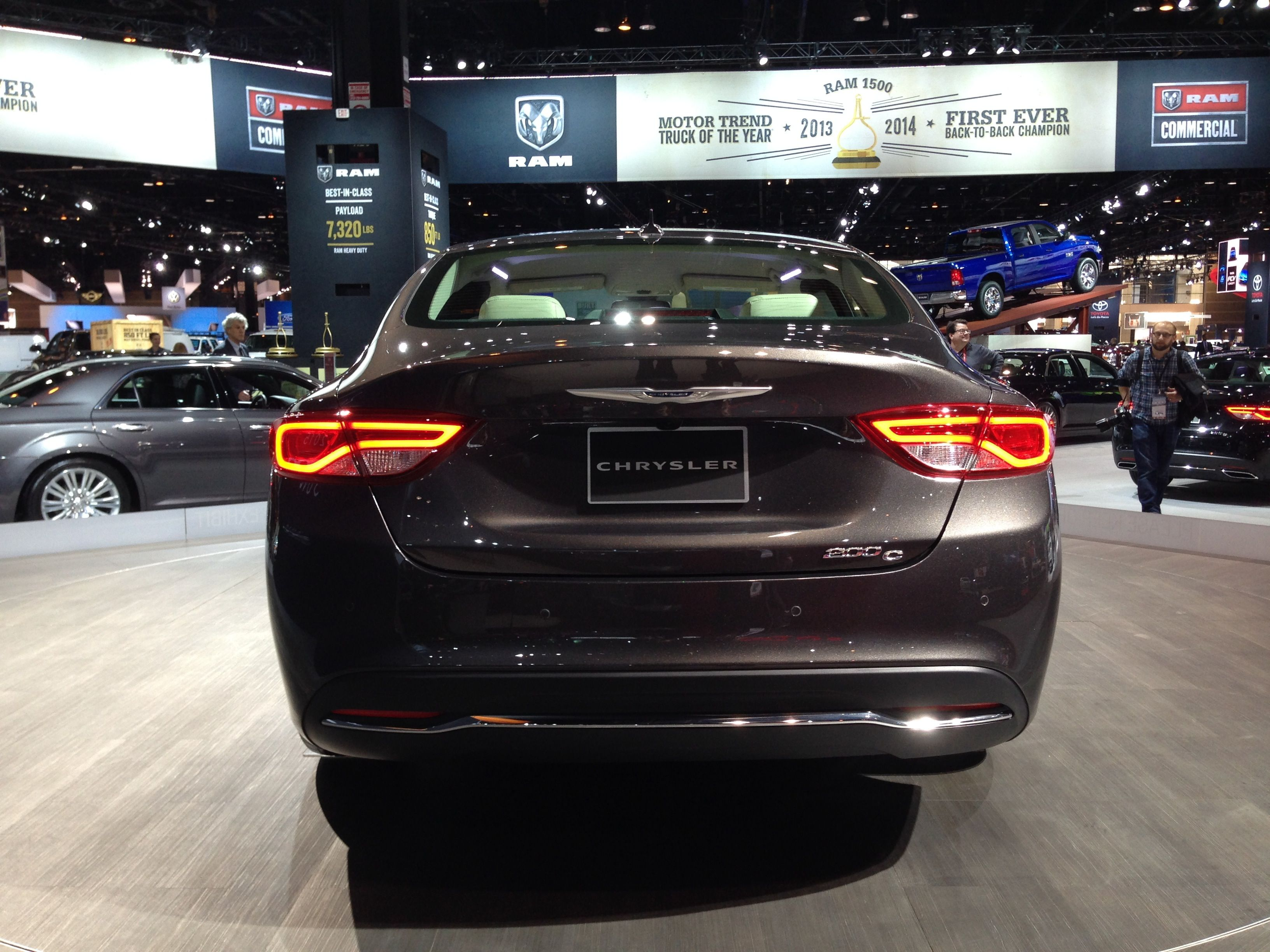The tail end of the all new 2015 chrysler 200 in granite crystal metallic at the