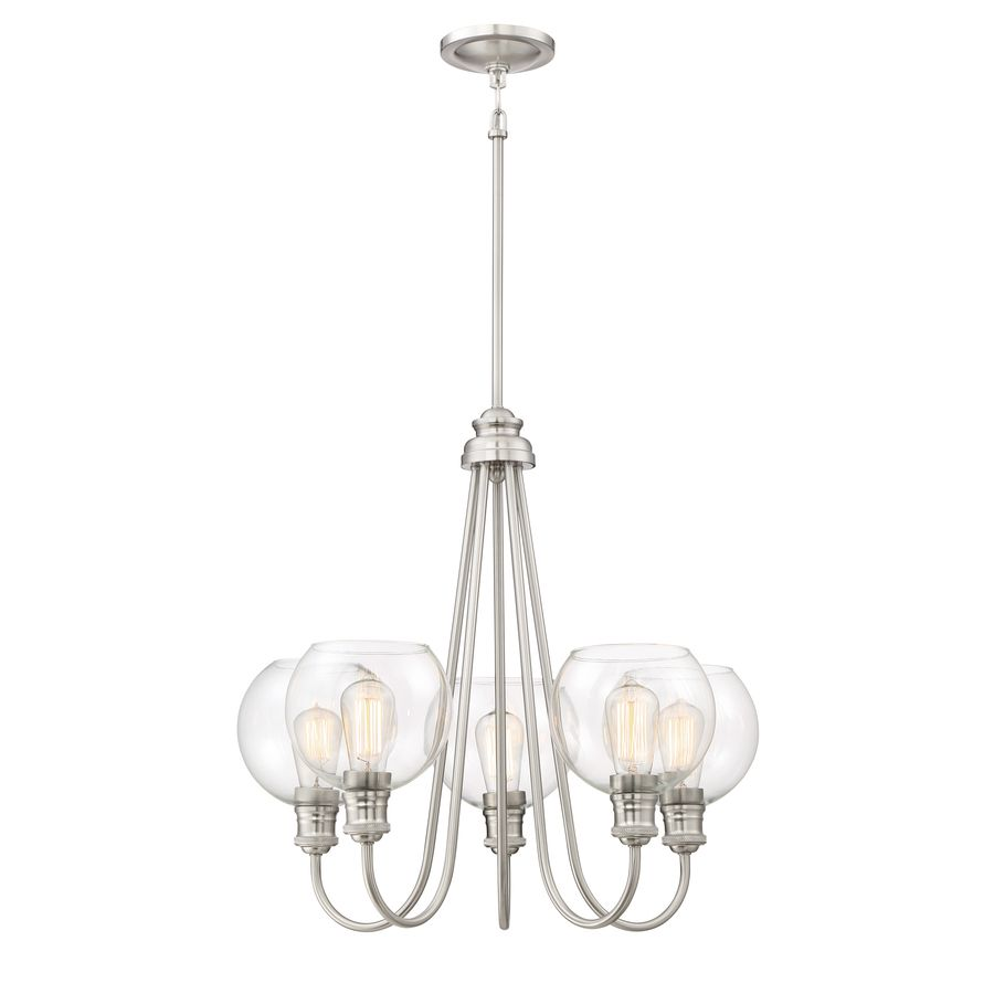 160 quoizel soho 2375 in 5 light brushed nickel industrial clear glass tiered - Brushed Nickel Dining Room Light