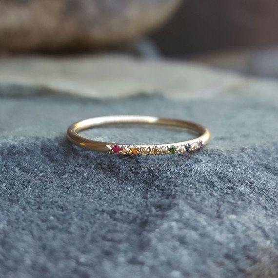 Rainbow Ring Rainbow Band Rainbow Rings Gold Rainbow Sapphire Ring