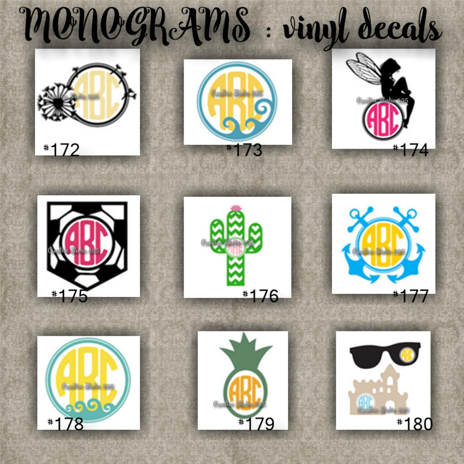Monogram vinyl decals name initial decal sticker car decals car stickers laptop sticker 172 180 by creativedecals805 on etsy