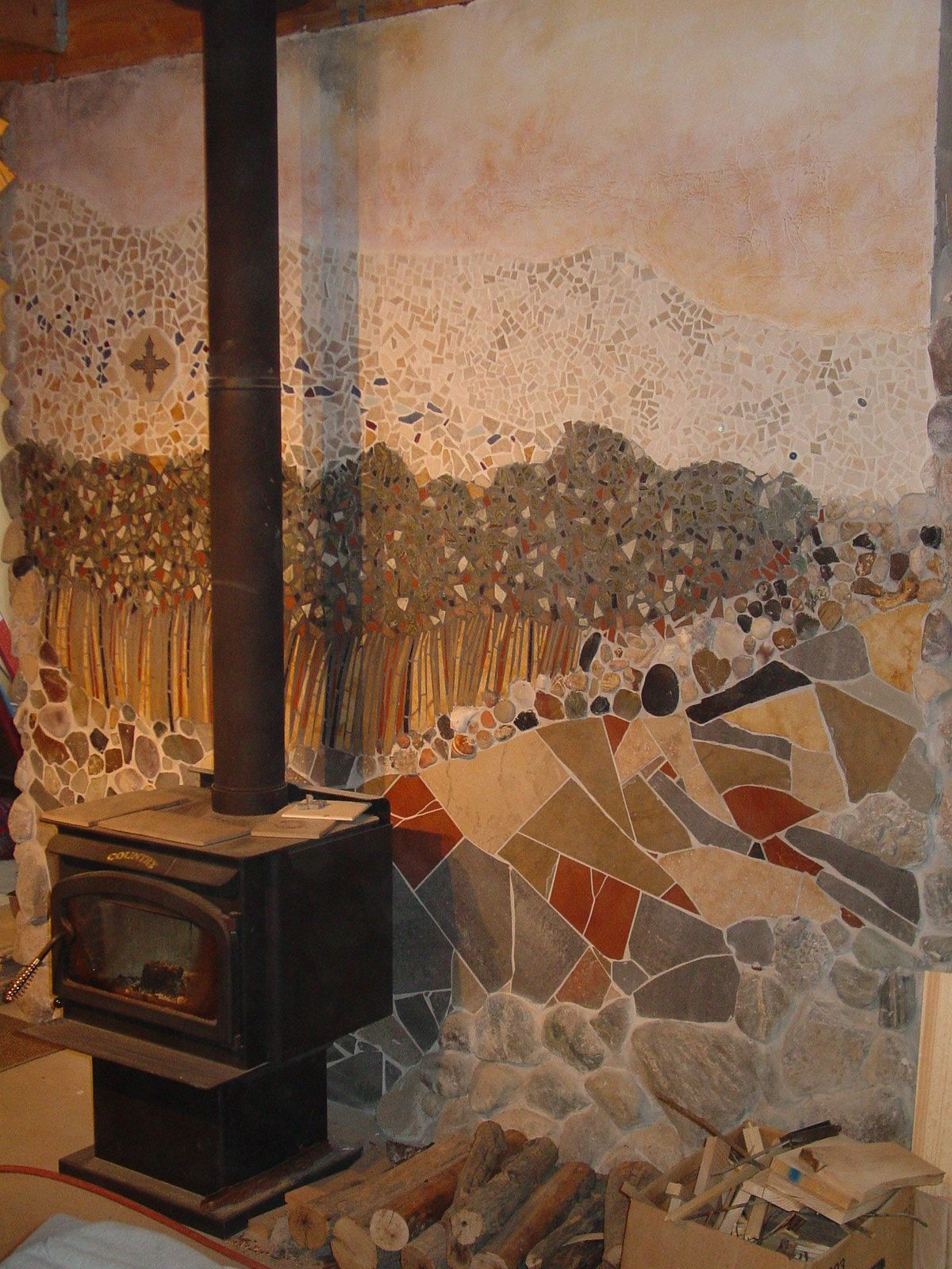 Ceramic Tile landscape with stones 8X8' wall behind wood ...