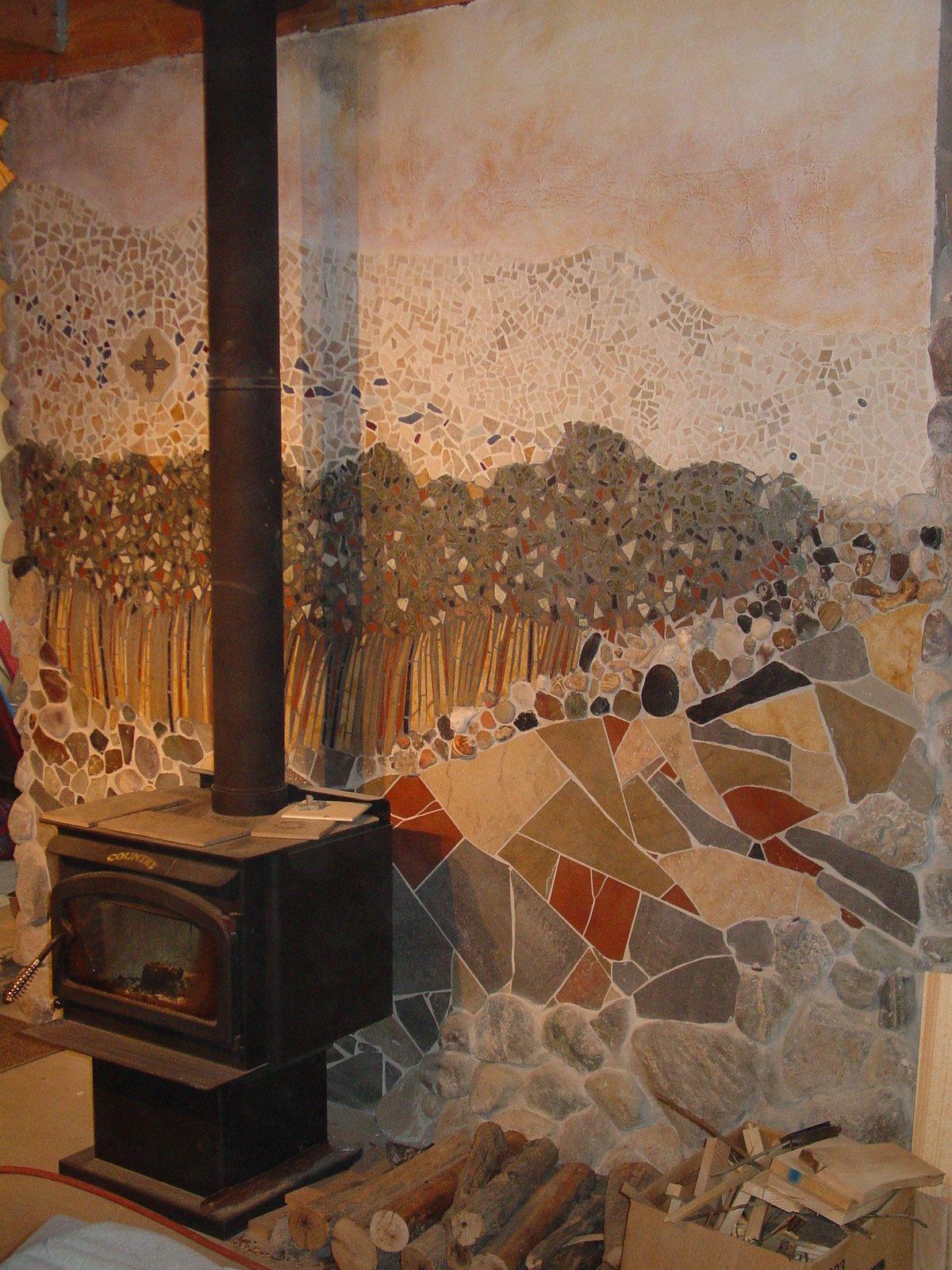 Of posts ceramic tile advice forums john bridge ceramic tile - Ceramic Tile Landscape With Stones 8x8 Wall Behind Wood Stove Sharon Smithem
