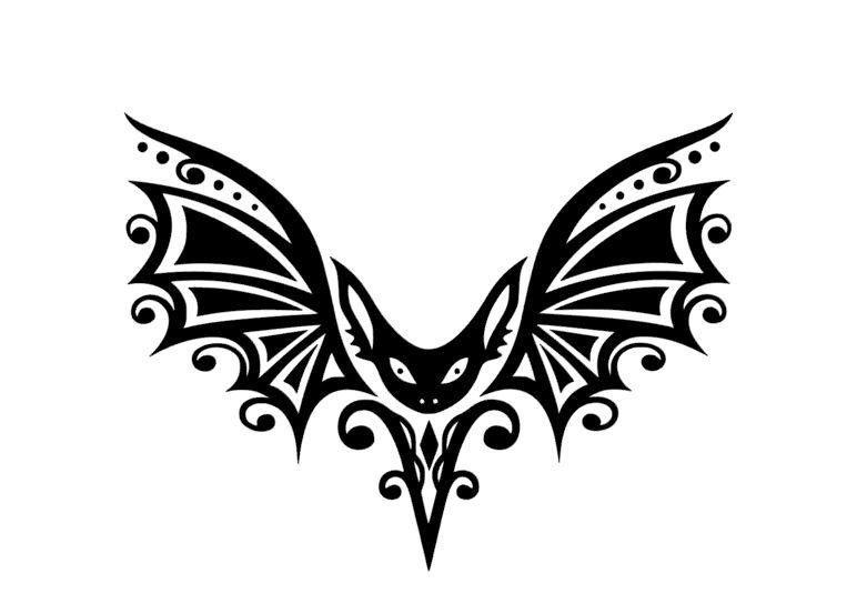 Gothic Tribal Bat W Curvy Detailed Wings Vinyl Decal For Car Home Yeti Laptop Tribal Fashion Vinyl Vinyl Decals