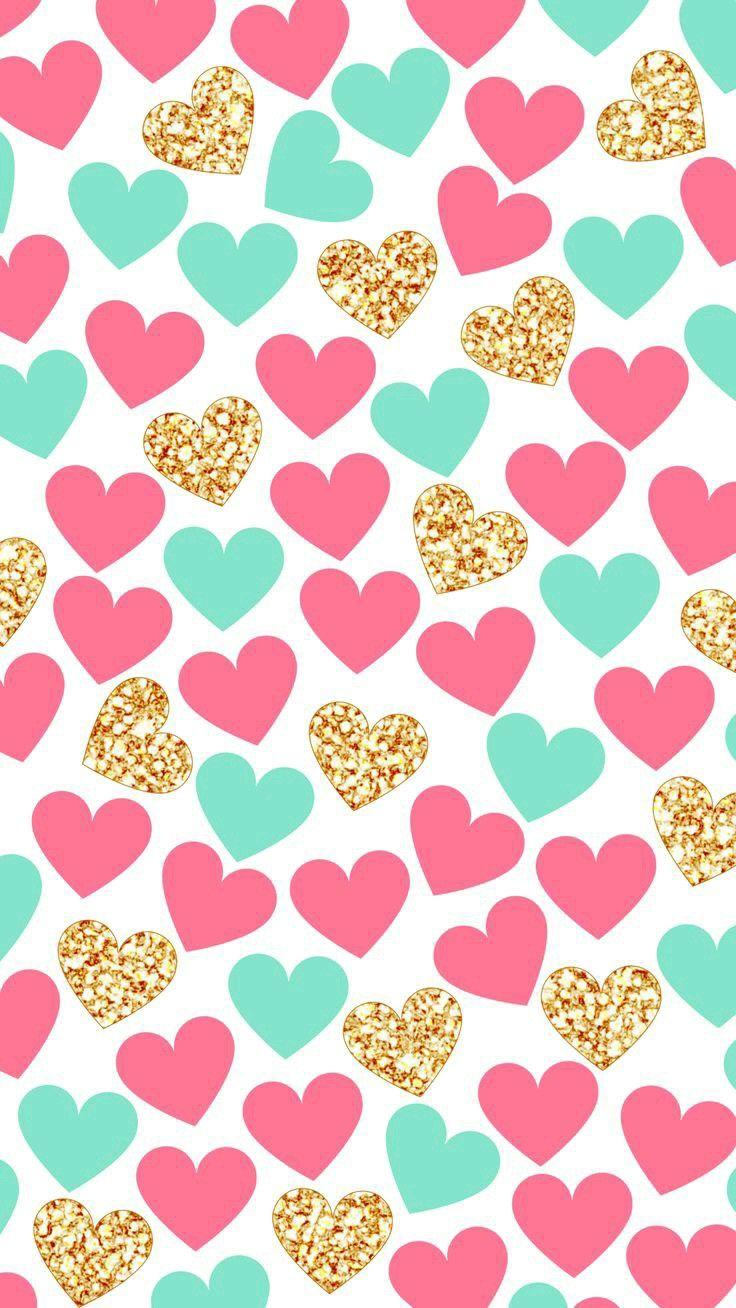 Pink And Turquoise Heart Graphic Pattern Ideas De Fondos De