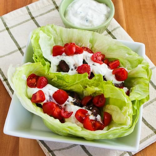 Ground Beef Gyro Meatball Lettuce Wraps with Tzatziki and Tomatoes (minus the beef)