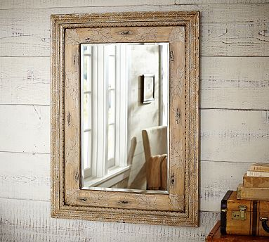 Sabella Painted Mirror Pottery Barn White Washed Wood With Rustic Mirror For Guest Bath Mirror Painting Round Wood Mirror Mirror Wall Bedroom