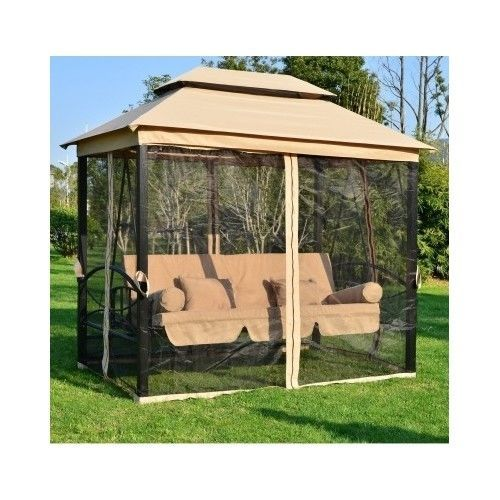 Outdoor Swing Tent Patio 3in1 Gazebo Hammock Bench Bed Canopy Mesh Walls  Yard