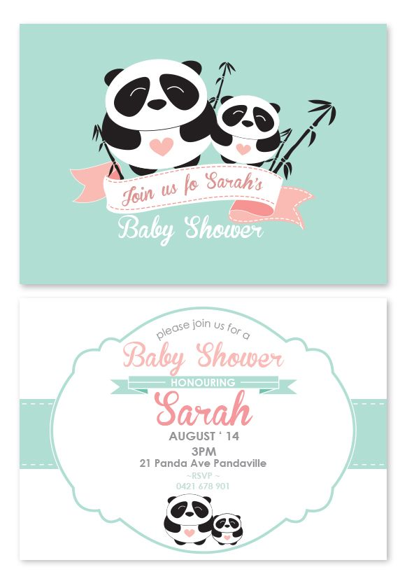 Baby Panda Invitations - I like these colors for the panda-themed ...