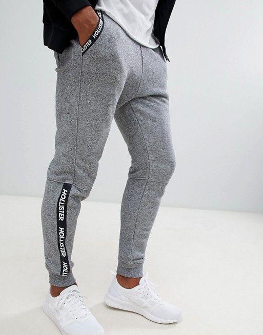 baa0347d Hollister skinny logo tape detail cuffed jogger in gray marl | asos ...