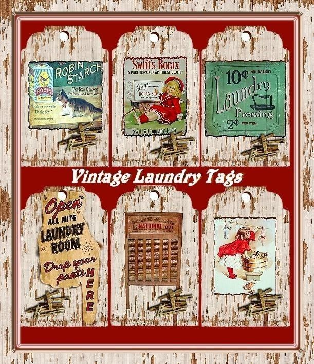 Altered Art Vintage Laundry Advertising Tag Set